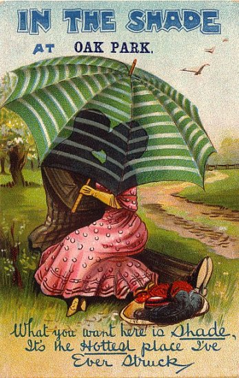 Kissing Behind the Umbrella at Oak Park, Comic Vintage Postcard - 3900