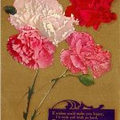 Carnations on Gold Background Vintage Postcard - 3999