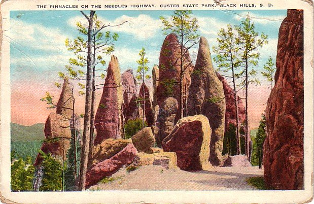 The Pinnacles in Custer State Park at Black Hills, South Dakota SD Postcard - 4014