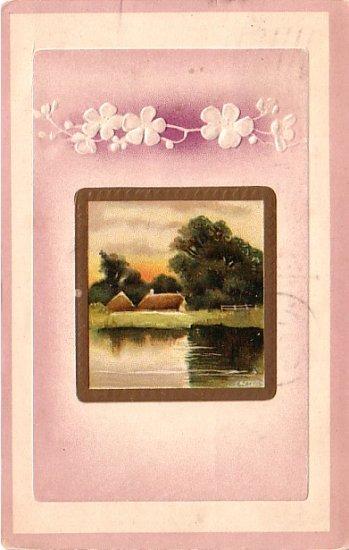Peaceful Country Embossed 1909 Greetings, Vintage Postcard - 4020