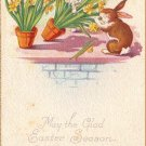 Naughty Bunnies Knocking Over Flower Pots, 1923 Easter Vintage Postcard - 4035