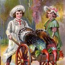 Child Chef Pushing Thanksgiving Turkeys in Cart, Vintage Postcard - 3914