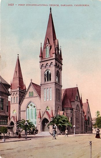 First Congregational Church in Oakland CA, Edward H Mitchell 1909 Vintage Postcard - M0017