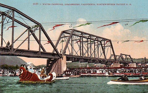 Water Carnival, Healdsburg California CA, Edward H Mitchell 1909 Vintage Postcard - M0040