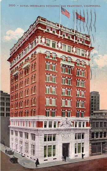 Royal Insurance Building in San Francisco CA, Edward H Mitchell 1909 Vintage Postcard - M0041