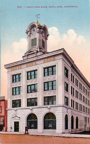 Santa Rosa Bank in California CA, Edward H Mitchell 1910 Vintage Postcard - M0089