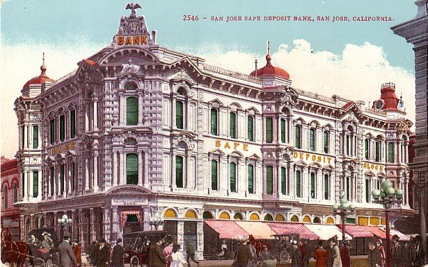 Safe Deposit Bank in San Jose California CA, Edward H Mitchell 1910 Vintage Postcard - M0094