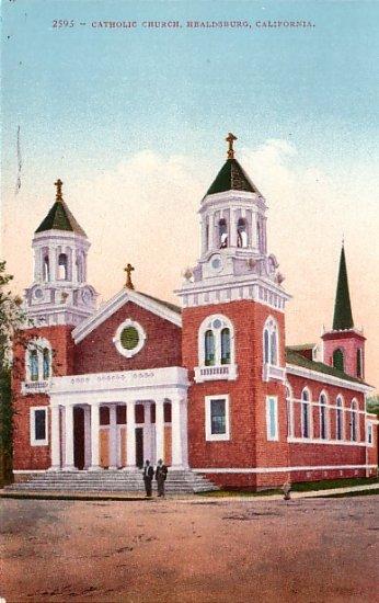Catholic Church in Healdsburg California CA, Edward H Mitchell 1910 Vintage Postcard - M0095