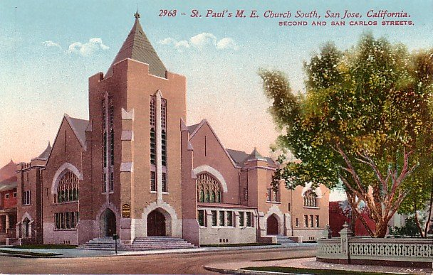 St. Paul's Methodist Church South in San Jose, CA Edward H Mitchell 1911 Vintage Postcard - M0135