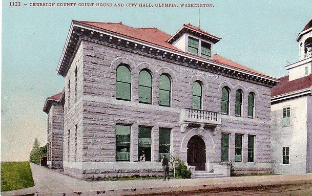 Thurston County Court House in Olympia Washington WA, Edward H Mitchell 1907 Postcard - M0190