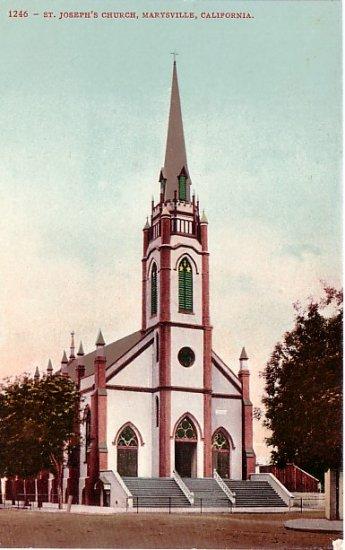 St. Josephs Church in Marysville California CA, Edward H Mitchell 1908 Postcard - M0193