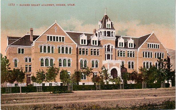 Sacred Heart Academy in Ogden Utah UT,  Edward H Mitchell Vintage 1908 Postcard - M0201