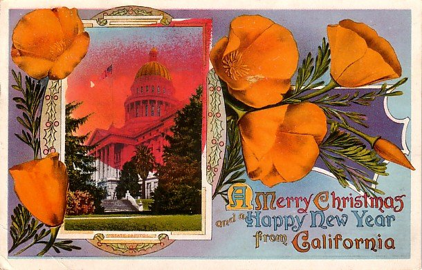 Christmas Card from Western Pacific Railway Edward H Mitchell 1912 Vintage Postcard - M0224