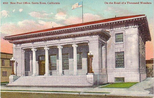 New Post Office in Santa Rosa California CA, Edward H Mitchell Vintage Postcard - M0227