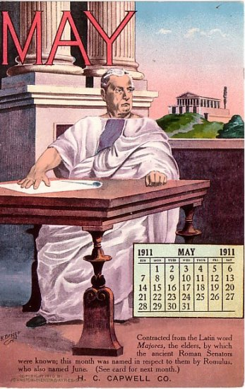 May 1911 Calendar, Edward H Mitchell Vintage Postcard - M0231