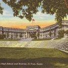 El Paso High School and Stadium at Texas TX, 1945 Curt Teich Postcard - BTS 31