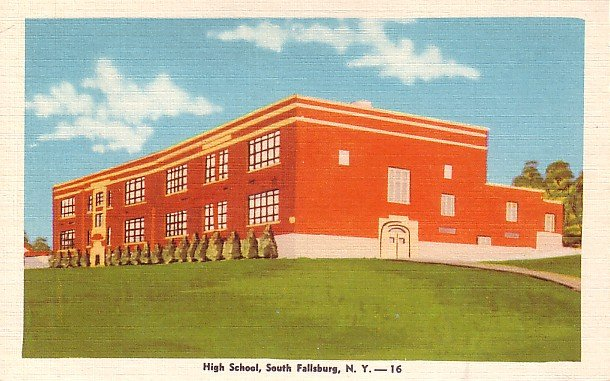 South Fallsburg High School in New York NY, Linen Postcard - BTS 40