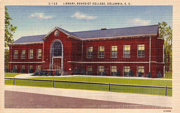 Benedict College Library in Columbia South Carolina SC, Linen Postcard - BTS 83