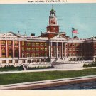 High School in Pawtucket Rhode Island RI, 1943 Linen Postcard - BTS 85