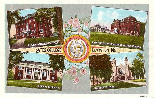 Multi Views Bates College Lewiston Maine ME Curt Teich Linen Postcard - BTS 113
