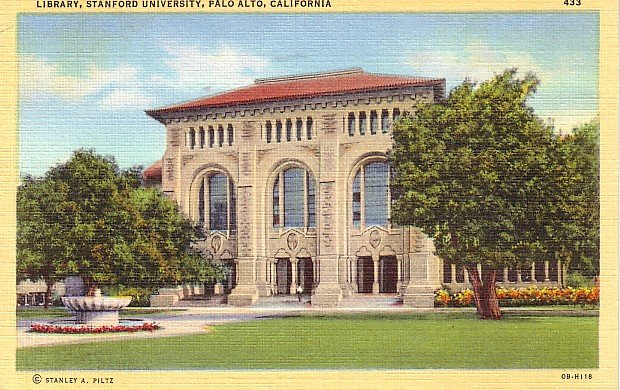 Stanford University Library in Palo Alto California CA, 1940 Linen Postcard - BTS 130