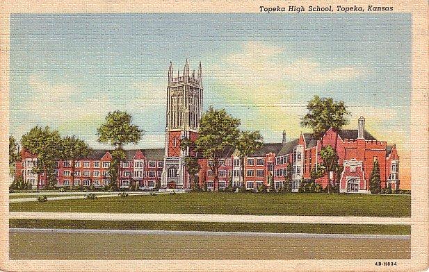 Topeka High School in Kansas KS, 1944 Curt Teich Linen Postcard - BTS 163