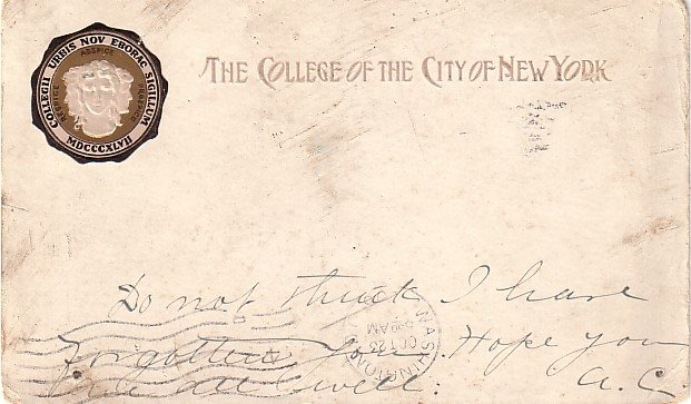 Seal of the College of The City of New York 1908 Vintage Postcard - BTS 173