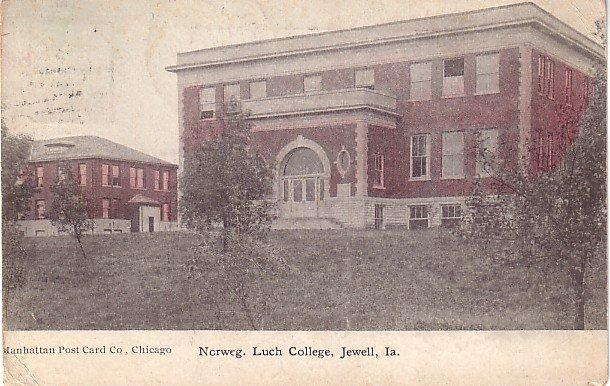 Norweg. Luch College in Jewell Iowa IA, 1909 Vintage Postcard - BTS 195