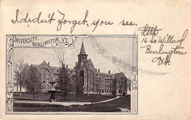 University at Burlington Vermont VT, 1905 Vintage Postcard - BTS 207