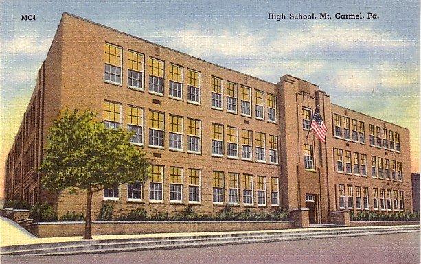 High School in Mt. Carmel Pennsylvania PA, Mid Century Linen Postcard - BTS 220