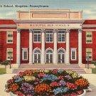Kingston High School in Pennsylvania PA, Mid Century Linen Postcard - BTS 221