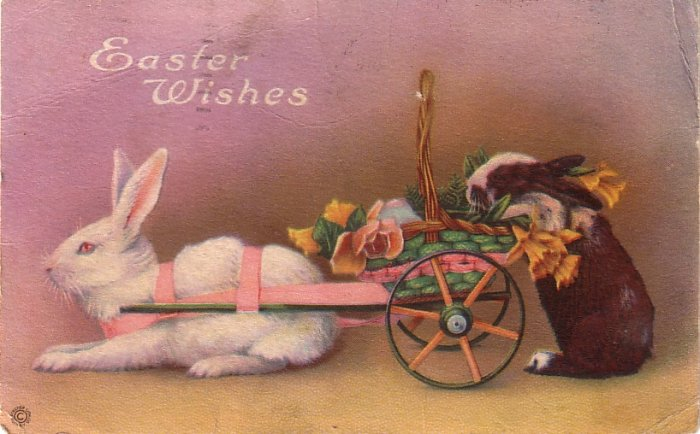 Bunny Pulling Decorated Easter Cart, 1922 Vintage Postcard - 4073