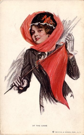 At The Game, Pretty Lady with Pennant Vintage Postcard - 4108