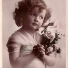 Heart's Delight, Pretty Little Girl with Flowers Rotary Real Photo Post Card RPPC - 4113