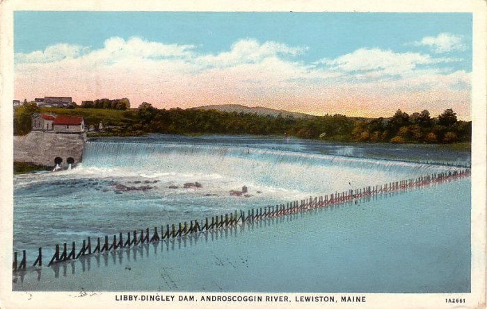 Libby Dingley Dam in Lewiston Maine ME, 1931 Curt Teich Vintage Postcard - 4114