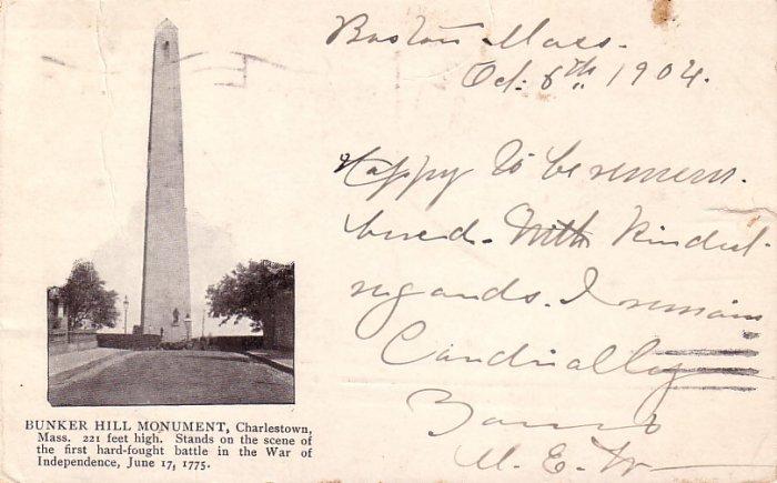 Bunker Hill Monument in Charlestown Massachusetts MA, 1904 Vintage Postcard - 4115