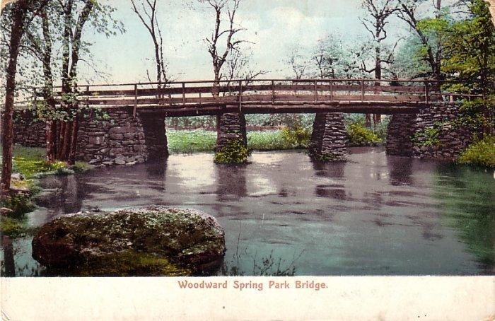 Woodward Spring Park Bridge near Taunton Massachusetts MA, Vintage Postcard - 4116