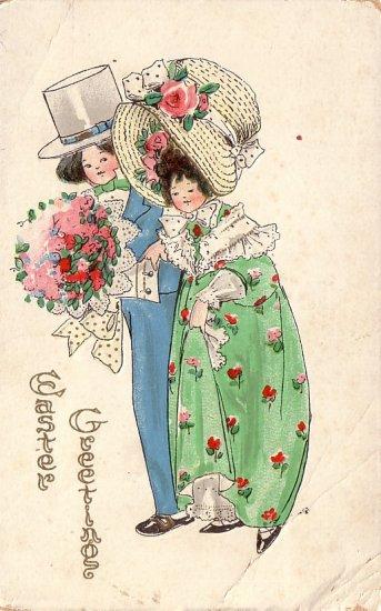 Couple in Easter Bonnets, Vintage Postcard - 4128