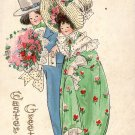 Couple in Easter Bonnets, Vintage Postcard - 4128