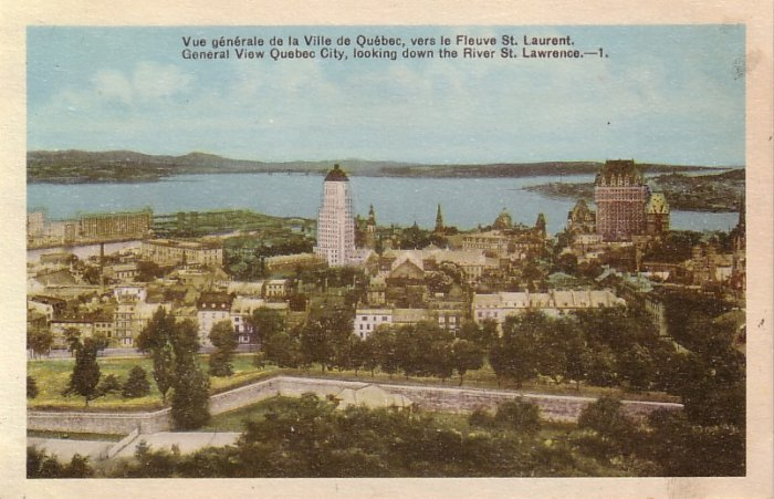 General View of Quebec City Looking Down the River at Canada, Vintage Postcard - 4130