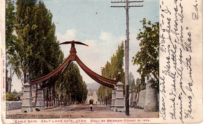 Eagle Gate at Salt Lake City in Utah UT, 1905 Vintage Postcard - 4150