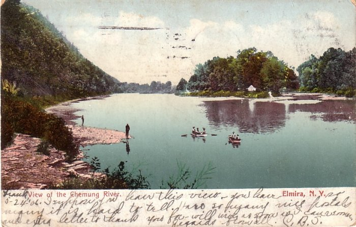 View of the Chemung River at Elmira New York NY, 1906 Vintage Postcard - 4152