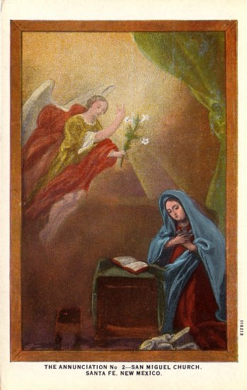 The Annunciation at San Miguel Church in Santa Fe New Mexico NM, Vintage Postcard - 4154