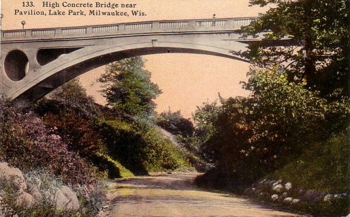 Concrete Bridge near Pavilion at Lake Park in Milwaukee Wisconsin WI Postcard - 4168