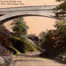 Concrete Bridge near Pavilion at Lake Park in Milwaukee Wisconsin WI Postcard - 4168