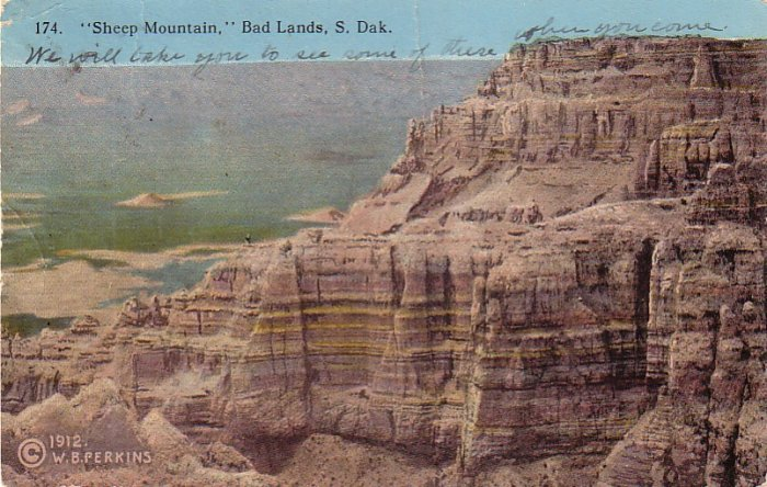 Sheep Mountain in Bad Lands of South Dakota SD, 1912 Vintage Postcard - 4173