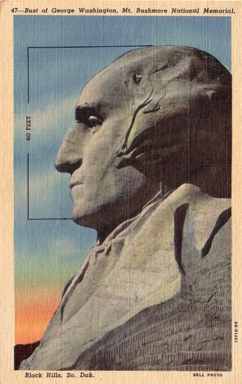 George Washington at Mt. Rushmore in Black Hills South Dakota SD - Curt Teich Linen Postcard - 4174