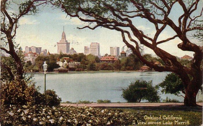 Lake Merritt and View of Oakland California CA, 1920 Vintage Postcard - 4175