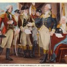 Washington and Cornwallis at Yorktown Virginia VA, Curt Teich Vintage Postcard - 4176