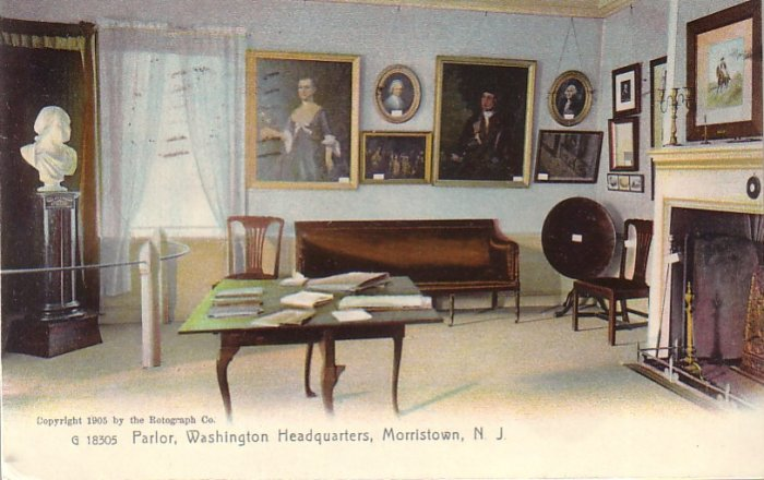 Parlor of Washington Headquarters in Morristown New Jersey NJ, Rotograph Vintage Postcard - 4192